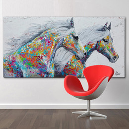 $enCountryForm.capitalKeyWord Australia - Large Horse Canvas Wall Art Two Running Horse Oil Painting Print on Canvas Modern Long Banner Canvas Poster For Living Room Home Decoration