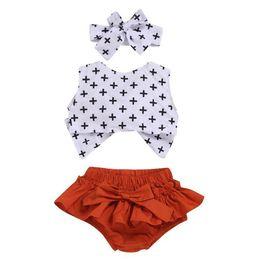 $enCountryForm.capitalKeyWord Australia - kids clothing 2019 baby Summer Wave point fashion T shirt+shorts+Hair baby girl clothes 3 piece Set kids designer clothes girls