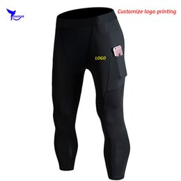 running stretch tight Australia - Custom Men Sport Capris Compression Pants with Pocket Gym Fitness Leggings Quick Dry 3 4 Running Tights Stretch Cropped Trousers