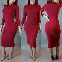 woman black winter clothes NZ - Liooil 2020 Spring Dress Turtleneck Long Sleeve Black Wine Red Midi Bodycon Dresses Winter Plus Size Clothing For Women MX200518