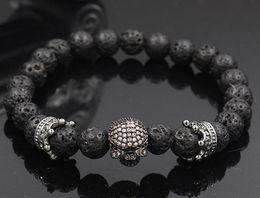 Discount volcanic lava bracelet - 8mm xh6645 gold silver crown black stone volcanic lava skull micro pave cz zircon cubic zirconia Bracelet Yoga Reiki Cha