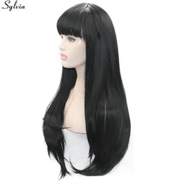 $enCountryForm.capitalKeyWord Australia - Long Black 1b# Wigs Natural Straight Black Hair With Bang Heat Resistant Fiber Synthetic Lace Front Wig For Women 22inch
