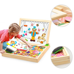 Chinese  Wooden Magnetic Puzzle Figure animals  Vehicle  circus Drawing Board 5 Styles Box Educational Toy Gift Q190530 manufacturers