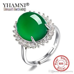 Chinese  YHAMNI New Fashion 925 Sterling Silver Ring Jewelry Big Natural Green Crytal Chalcedony Stone Adjustable Rings For Women ZR565 manufacturers