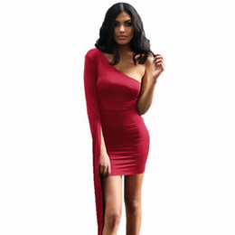 Discount solid color one shoulder dress - Lace Up Party Mini Dress Women Red One Shoulder Long Sleeve Elegant Bodycon Dresses Sexy Club Wear Solid Color Bandage D