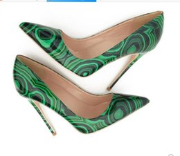$enCountryForm.capitalKeyWord NZ - 2019 Green Circle Women's Red Bottom Cusp Fine heel high-heeled shoes 8cm 12cm 10cm Large size 44 wedding dance Shallow-mouthed Single shoes