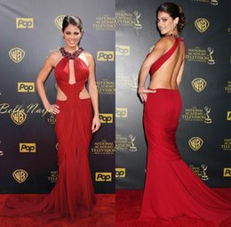 $enCountryForm.capitalKeyWord Australia - Cheap Straps Celebrity Red Mermaid Prom Dresses Inspired by Emmy Awards with Beads Halter Neckline Backless Red Carpet Chiffon Evening Gowns