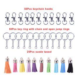 Diy Resin Chain Australia - 125Pcs Set Key Chain Ring Pendants Tassel Bulk For DIY Crafts Jewelry Making Men Women Trendy Casual Keychain