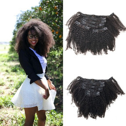 Free Women Human Hair Afro Australia - Top Grade 4a,4b Afro Kinky Curly Clip In Extensions 7pcs set For Black Women Indian Peruvian Human Hair Free Shipping G-EASY