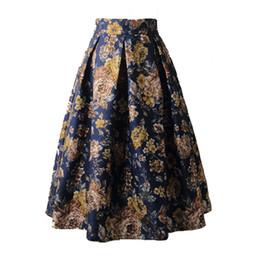 $enCountryForm.capitalKeyWord UK - Summer Women Skirt Vintage Floral Print High Waist Ball Gown 2019 Female Elegant A Line Office Pleated Midi Skirts Skater Saias