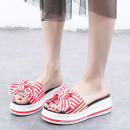 $enCountryForm.capitalKeyWord NZ - 2018 New Shoes Women Fashion Brand Platform Slipper Striped Lady Summer Sweet Bow Wedges Slides Adult Girl footware Red