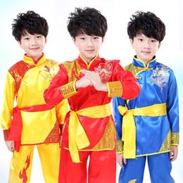 Kung Fu Suit Blue Australia - Children Long Sleeve Taekwondo Dobok Wushu Costume Kimono Judo Clothing Chinese Kung Fu Suit Tai Chi Martial Art Uniform