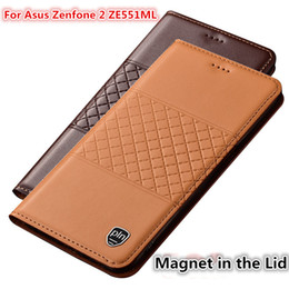 Flip Phone Holder NZ - QX01 Genuine Leather Phone Case With Card Holder For Asus Zenfone 2 ZE551ML Case For Asus Zenfone 2 ZE551ML Flip Case
