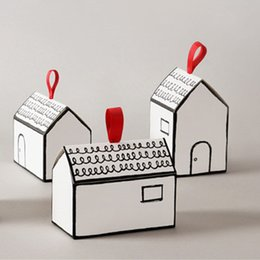 $enCountryForm.capitalKeyWord Australia - Paper Gift Boxes 20 Sets White House Shape Gift Package Cake Candy Box With Red Ribbon Wedding Favors And Gifts Box Party Supply T190711