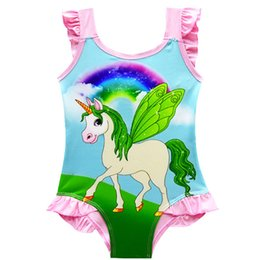 Swimwear Infant Australia - 3 colors One Piece Bowknot Swimsuit Bikini INS Unicorn kids swimwear Summer Cartoon Infant Swim Bathing Suit Beachwear DHL JY42
