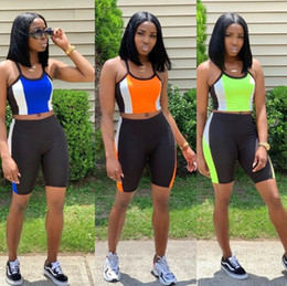 $enCountryForm.capitalKeyWord Australia - Womens shorts outfits halter tops tank top 2 piece set casual summer above knee legging skinny trousers klw1411