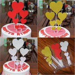 7 unids / set Hecho A Mano Corazón Encantador Cupcake Toppers Cake Party Supplies Cumpleaños Decoración Del Banquete de Boda 3 colores