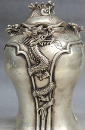 """$enCountryForm.capitalKeyWord Australia - free shipping 8"""" Marked Chinese Palace Silver 4 Fly Dragon Head Container Pot Jar Crock"""