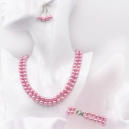 $enCountryForm.capitalKeyWord Australia - Temperament Necklace Earrings Jewelry Set Pink Glass Pearl Bridal 2 Rows Chain Dangle Simulated Pearls 8mm Round Beads Sets A627