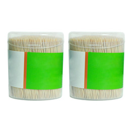 Wholesale Fruit Boxes UK - 1000pcs Party Bamboo Toothpick Fruit Cocktail Large Double Sturdy Wedding Cylindrical Boxed Stick Cakes Accessories