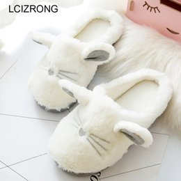 cute warm slippers NZ - wholesale Cute Cat Winter Women Home Slippers For Indoor Bedroom Soft Plush Bottom Slipper Cotton Warm Shoes House Christmas Gift
