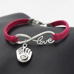 Leather Gloves For Men Australia - Infinity Love 3D Baseball Glove Sports Rose Red Leather Suede Bangles Wristband Vintage Punk Friendship Bracelet For Women Men Charm Jewelry