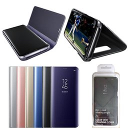 Mirror Smart Case For S6 Australia - Smart Mirror Flip Phone Case For Samsung Galaxy S9 S10 S8 S7 S6 Edge Plus S10 E Note 9 Clear View Cover Cases