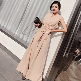 Elegant Jumpsuits Women Australia - Summer New 2019 Women Elegant V-Neck Jumpsuit with Bow Sashes Women Sleeveless Loose Wide Leg Jumpsuit Apricot Black Burgundy