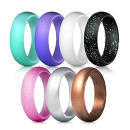Wide Silicone Band Australia - Silicone Fashion Wedding Bands 5.7 Mm Wide Comfortable Silicone Ring Metal Color Women's Pearlescent Glitter Jewelry 7Pcs Set