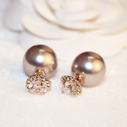 two sided earrings UK - New double-sided wearing high-end champagne pearl earrings exquisite fashion two-color popular pearl earrings super flash zircon earrings