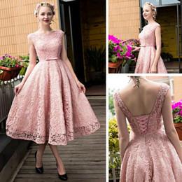 516e494f83 Fashion Bateau Lace Bodice Gown Bridesmaid Dresses Maid of Honor Beach Cap  Sleeves Tea-length Lace-up Back