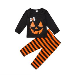 Skull clotheS kidS girlS online shopping - Retail girls Halloween Outfits suit set skull long sleeve shirt stripe pant kids designer tracksuits girls clothing sets