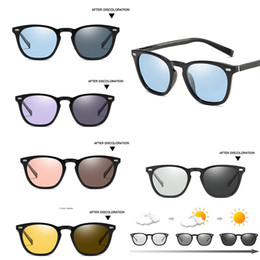 glasses yellow lens driving 2019 - Mens Women's Polarized Photochromatic Sunglasses Blue Pink Purple Yellow Transition Chameleon Lens Outdoor Driving