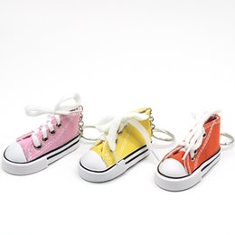 canvas shoe bags wholesale NZ - Key Ring Canvas Shoes Keychain Bag Charm Woman Men Kids Key Holder Gift Sports white Sneaker Key Chain Funny Gifts