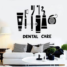 Wholesale bedroom suits resale online - Dental Care Suit Vinyl Decal Wall Stickers Clinic Dentist Toothbrush Floss Bathroom Decor Waterproof Art Home Decoration