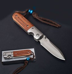 very sharp knives 2019 - 7CR13 57HRC Satin Blade Wood Handle Folding Knife Very Sharp Tactical Camping EDC Hunting Hiking Xmas Knives Outdoor Sur