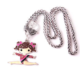 $enCountryForm.capitalKeyWord Australia - Q12 Gymnastics girl pendant Zinc Alloy Rhodium Plated Mixed Color Crystal Cheerleader Girl Pendant wheat chain necklace