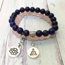 Gem chains online shopping - MG0566 Fashion Natural Lapis Lazuli Couple Bracelet Lotus Buddha Charm Gem Stone Bracelet Best Wedding Birthday Gift Jewelry