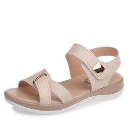 Chinese  Summer Women Sandals Platform Heel Leather Hook Loop Metal Ankle Strap Soft Comfortable Wedge Shoes Ladies Casual Sandals V284 manufacturers