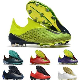 Cheap messi boots online shopping - 2019 Mens Soccer Cleats X FG Soccer Shoes High Laceless Messi Original Football Boots Outdoor Scarpe da calcio Best Quality Cheap