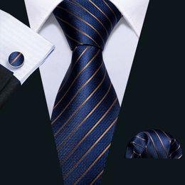 Быстрая доставка шелковые галстуки Мужские 100% дизайнеры мода темно-синий синий полосатый галстук Hanky запонки наборы для мужской формальной свадьбы Groom N-5032 на Распродаже