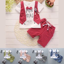 $enCountryForm.capitalKeyWord Australia - 5 colors Summer T-shirt+Shorts 2 Piece Sets kids clothes Short Sleeve Bowknot T-shirt Cartoon checked Shorts kids designer clothes DHL JY139