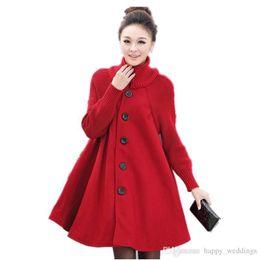 $enCountryForm.capitalKeyWord Australia - Plus Size Woolen Coat Winter Coat Women Cloak Style Wool Jacket Turtleneck Knitted Stitching Maxi Coats Long Jacket Parkas C2665