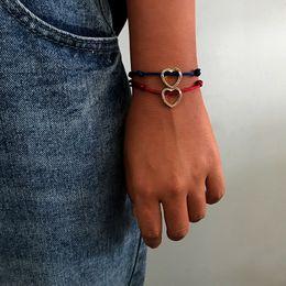 $enCountryForm.capitalKeyWord Australia - 2 pcs set Blue Red Rope Chain Heart Shape Couple Bracelet for Women Men Simple Boho Summer Beach Bangle femme Gift for Friend