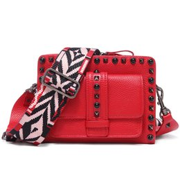 $enCountryForm.capitalKeyWord UK - Belle2019 Woman Cowhide Rivet Genuine Leather Mini- Packet Mobile Phone Package Width Straps Single Shoulder Messenger Small Bag