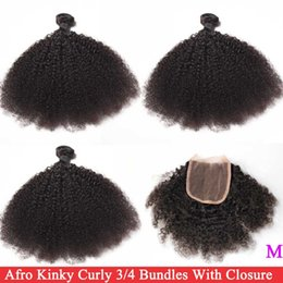 closure hairstyles Australia - Cheap 3 4 Tight Afro Kinky Curly Bundles Closure Brazilian Hair Weave 3 4 Bundles With Closure Remy Human Hair