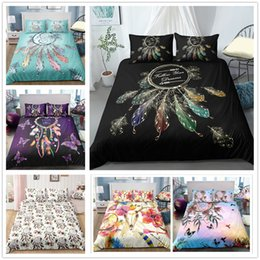 bedding sets for sale UK - Dreamcatcher Hot Sale Bedding Set Single Double King Size 2 3pcs with Green Purple White Bedspreads soft for girls Bed Set