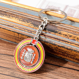 $enCountryForm.capitalKeyWord Australia - Vicney Spain Round Keychain Madrid Rotatable Round Key Chain Key Ring For Madrid Tourist Souvenir For Best Friend Gift