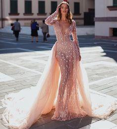 Quinceanera Dresses White Detachable Australia - Charming Crystal Long Sleeves Prom Dresses Party Dresses V-Neck Detachable Gold Mermaid Evening Dresses robes de soirée quinceanera dresses