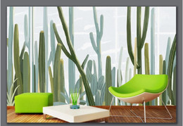 western home decor 2020 - WDBH 3d wallpaper custom photo Hand painted cactus Western European style TV background wall home decor wallpaper for wa